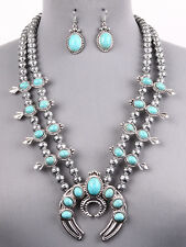 Squash Blossom Zuni Style Necklace Set Blue Howlite Bead Silver Chain Set