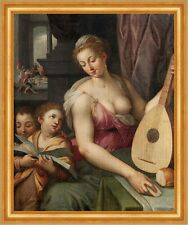 Allegory of Music Frans Floris Kinder Kampf Nackt Laute Singen Mutter B A3 01876