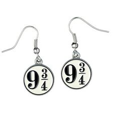 Official Harry Potter Silver Plated Hogwarts Platform 9 3/4 Drop Earrings Cool