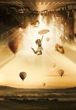 """perfact 24x36 oil painting """"a girl in the sky,hot air balloons,buildings""""@N2539"""