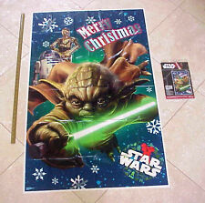 "NEW STAR WARS 30""x48"" Christmas Wall Decoration Yoda R2D2 C3P0 Plastic Poster"