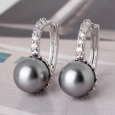 18k white gold filled attractive lady pearl sparking shinning hoop earring