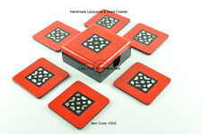 6 Elegant Handmade Lacquered Square Coasters With Box, Red-Black Mosaic, C008