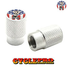 2 Silver Billet Knurled Tire Valve Cap Motorcycle - GIRL USA FLAG - 032
