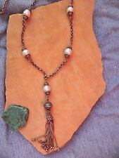 Effy~Pearls & Sterling Silver chain Y Necklace with Fringe 30""