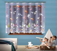 Children's Net Curtain Ocean Sea life Ready Made SOLD BY THE METRE