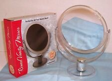 Round 2 Side Silver Beauty/ Vanity / Travel Mirror w/ Stand 2x mag & Normal Side