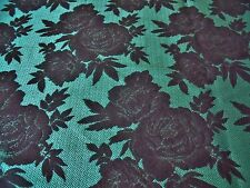 FRENCH SOFT SUITING FLORAL JACQUARD-JADE GREEN/BLACK -DRESS FABRIC-FREE P&P