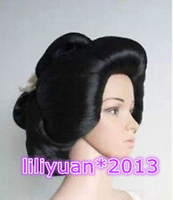 Hot sell ! Black Geisha Wig Full Wigs Plate Hair Anime Wigs Cosplay Wig