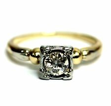 14k two tone gold .36ct SI1 H European diamond engagement ring 2.7g vintage