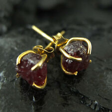Handmade Hammered Raw Ruby Stud Earring Yellow Gold over 925K Sterling Silver