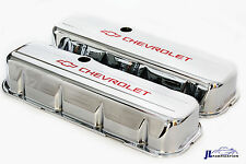 BBC Chrome Steel Tall Valve Covers w/ Red Chevrolet Logo 65-95 396-454