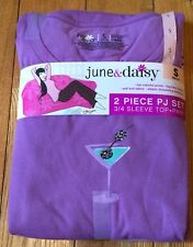 NWT Womens JUNE & DAISY Purple Bling Martini Glasses Pajama Set Size Small S 4-6
