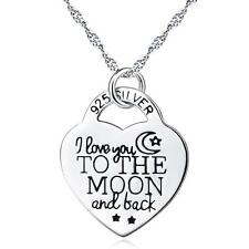 I LOVE YOU TO THE MOON AND BACK-925 Sterling Silver Message Heart Necklace 18""