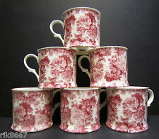 Set Of 6 Laura Red English Fine Bone China Chintz Mugs Cups By Milton China