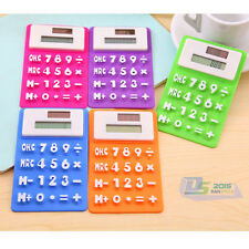 Mini Soft Silicone Pocket Calculator 8 Digit Solar Powered Panel Energy Power