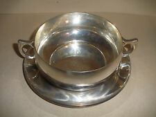 GREAT VINTAGE CARTIER MODERNIST STERLING SILVER SET 2 HANDLE BOWL CUP UNDERPLATE