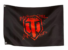 World Of Tanks Roll Out 2' by 3' Red Logo Black Flag Video Game Wargaming Banner