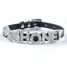 Personalized PU Leather Dog Puppy Cat Collar Free Customized Name for Chihuahua