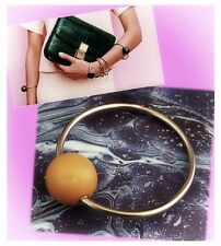 CELINE Brass and Chamois Marble Bowl Bracelet M ~ BNWT ~ CONTEMPORARY CHIC!