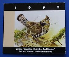 Canada (ON01s) 1993 Ontario Fed. of Anglers & Hunters Conservation Stamp (SBA)