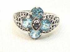Estate Vintage Sterling Silver CNA Signed Blue Topaz & Sapphire Filigree Ring