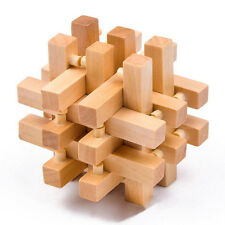 Intelligence Wooden Wood 3D IQ Puzzle Brain Teaser Magic Cube Toy Timber 18