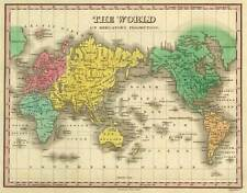 THE WORLD, Vintage Map Reproduction Rolled CANVAS PRINT 30x24 in.