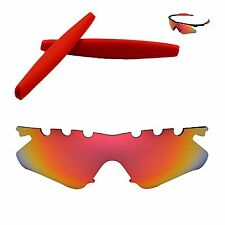 WL Polarized Fire Red Vented Lenses + Red Earsocks For Oakley M Frame Heater