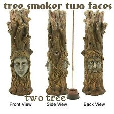 Poly Resin Brown 10.5'' Incense Burner - Tree Smoker W/ 2 Faces W/Wild berry