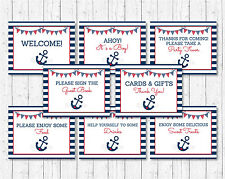 Nautical Anchor Blue & Red Baby Shower Table Signs - 8 Printable Signs