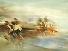 "Doug Lew ""Runners"" Original ART PAINTING Watercolor marathon race MAKE OFFER!"