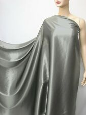 by The Yard Metal Grey Pure Silk Satin Charmeuse Fabric Plain Crepe Back