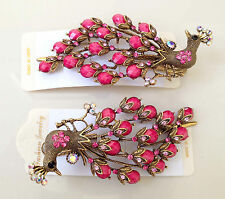 Peacock Rhinestone Beads Metal Hair Clip Pin in Pink, 1 piece