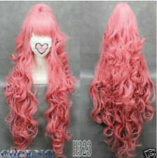 HOT 100cmVOCALOI D-Megurine Luka PINK Anime Cosplay wig+1Clip On Ponytail WX