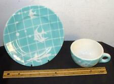 Syracuse China Cup & Small Plate Turquoise & White Shadow Tone Swimming Fish Net