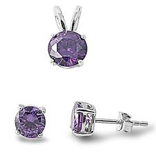 Round Amethyst .925 Sterling Silver Pendant & Earrings Set