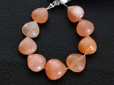 Natural Peach Moonstone Faceted Heart Semi Precious Gemstone Beads 001