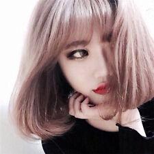 Harajuku Pink Purple Sweet Cute Natural fluffy air bangs Short curly Wig+wig cap