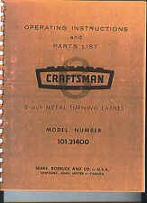 Craftsman 101 Metal Lathe Manual Maintenance, Parts