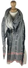 New Ladies Women Aztec Contrast Large Cotton Blend Scarf Pashmina Neckerchief