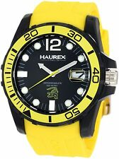 Haurex Men's N1354UNY Caimano Black Dial Luminous Yellow Rubber Date Watch