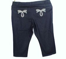 NWT 1826 Jeans Blue Denim Cropped Jeans Rhinestones Embroidery Stretch Size 22