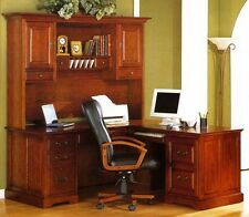 Golden Oak Savannah L-Shaped Computer Desk & Hutch Whalen Furniture Mfg. Co NEW