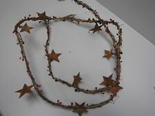 """DLCC~60"""" Grapevine Pip Berry Garland with Rusty Tin Stars Primitive home decor"""