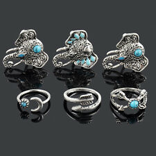 6pcs Silver Vintage Turquoise Elephant Animal Ring Set Midi Finger Knuckle Rings