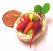 1:12 Mixed Vegetables In Basket Dolls House Miniature Kitchen Food Accessory T1