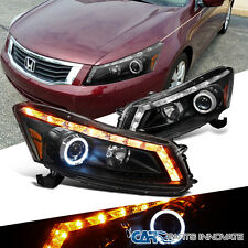 For Honda 08-12 Accord 4Dr Sedan LED Signal Halo Projector Headlights Lamp Black
