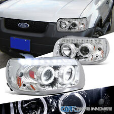 2005-2007 Ford Escape Chrome Dual Halo Rim SMD DRL Projector Headlights Lamps
