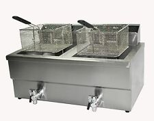 Commercial electric chip Fish fryer 10 litre double twin basket with drain taps
